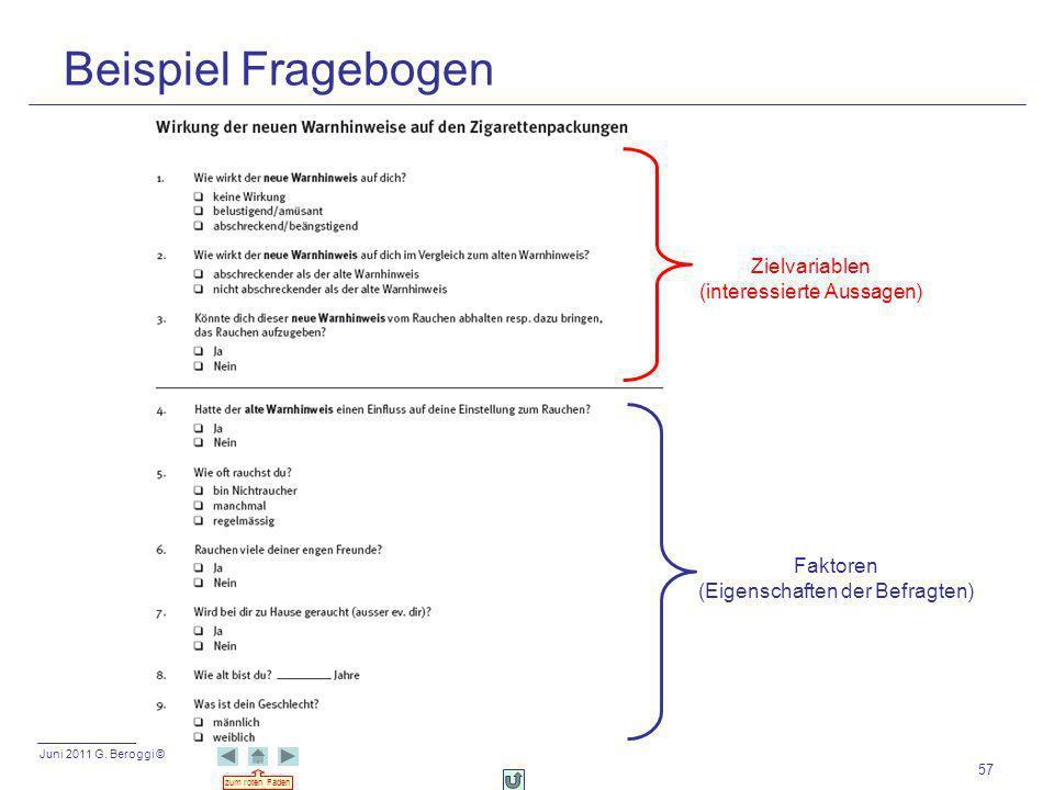 Juni 2011 G. Beroggi © zum roten Faden 57 Beispiel Fragebogen Zielvariablen (interessierte Aussagen) Faktoren (Eigenschaften der Befragten)