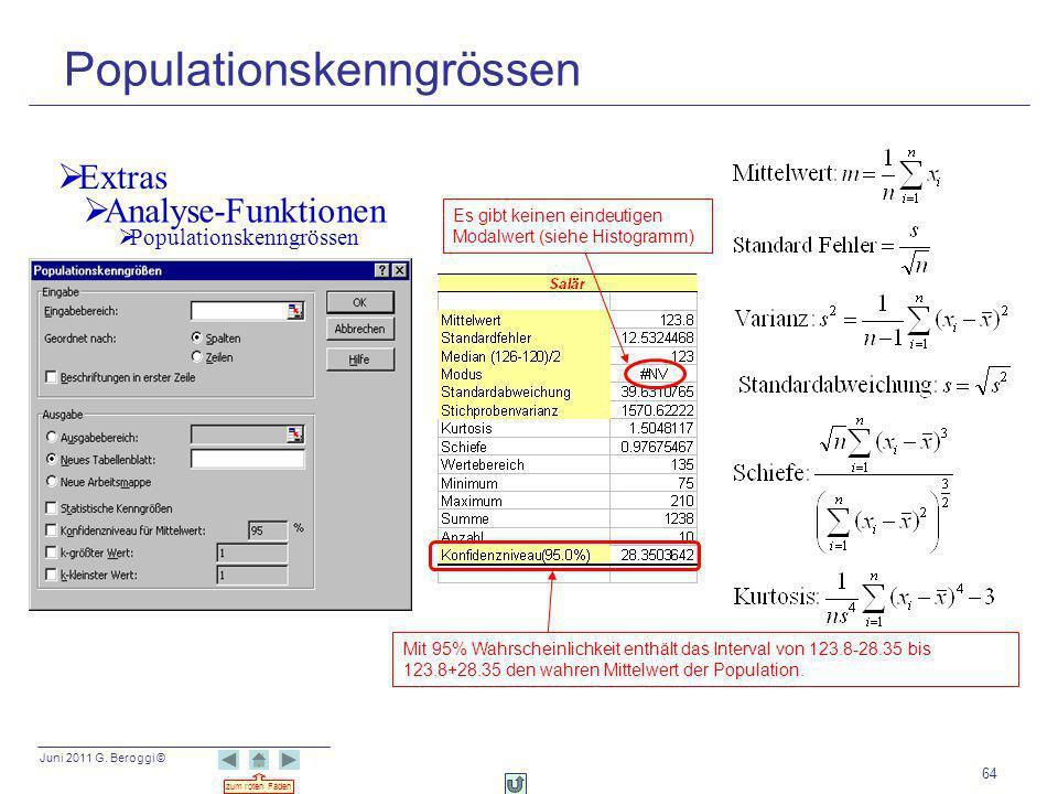 Juni 2011 G. Beroggi © zum roten Faden 64 Populationskenngrössen Extras Analyse-Funktionen Mit 95% Wahrscheinlichkeit enthält das Interval von 123.8-2