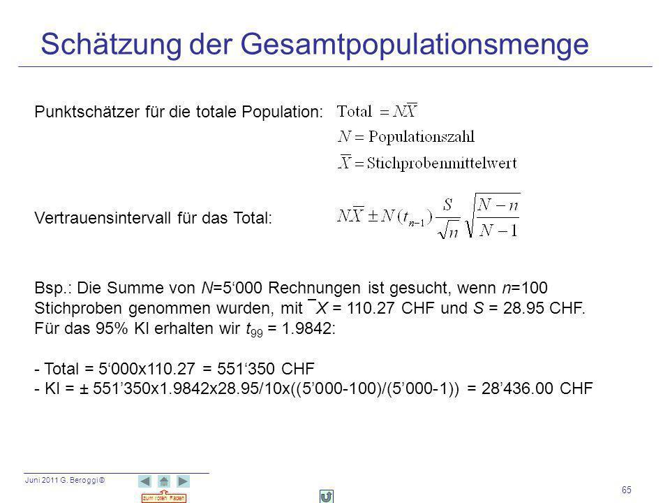 Juni 2011 G. Beroggi © zum roten Faden 65 Schätzung der Gesamtpopulationsmenge Punktschätzer für die totale Population: Vertrauensintervall für das To