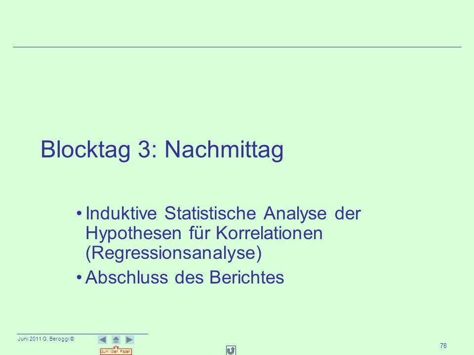 Juni 2011 G. Beroggi © zum roten Faden 78 Blocktag 3: Nachmittag Induktive Statistische Analyse der Hypothesen für Korrelationen (Regressionsanalyse)