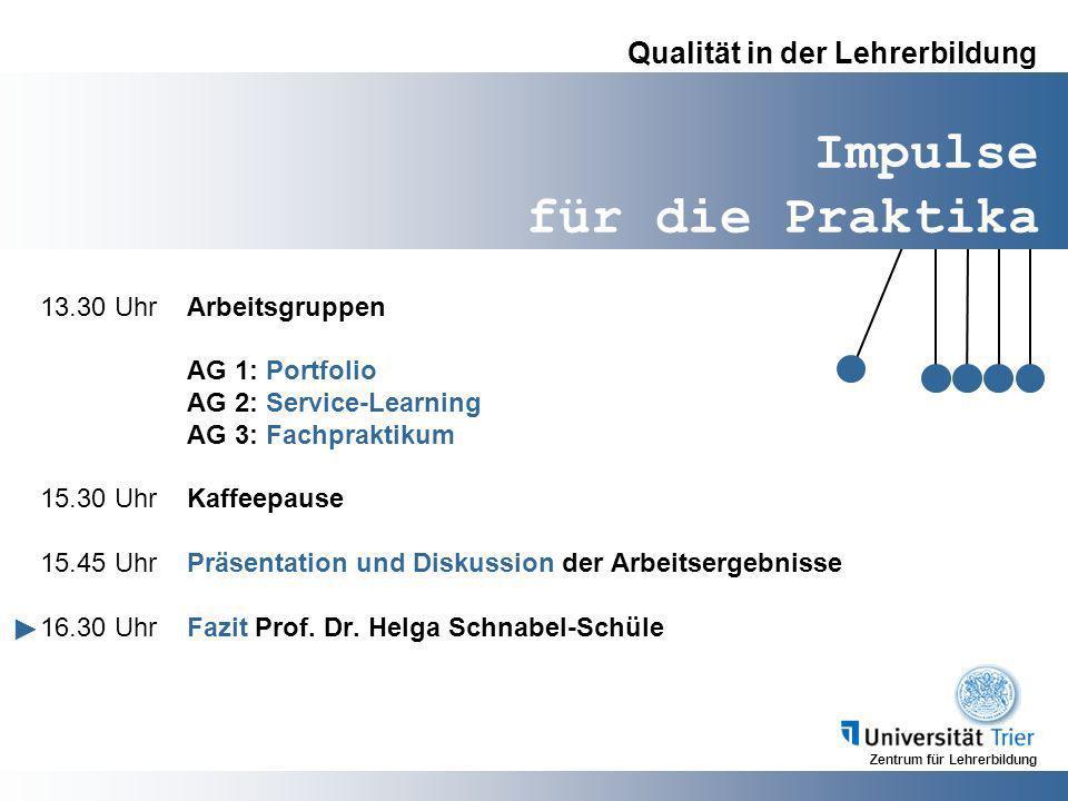 Zentrum für Lehrerbildung Impulse für die Praktika Qualität in der Lehrerbildung 13.30 UhrArbeitsgruppen AG 1: Portfolio AG 2: Service-Learning AG 3: