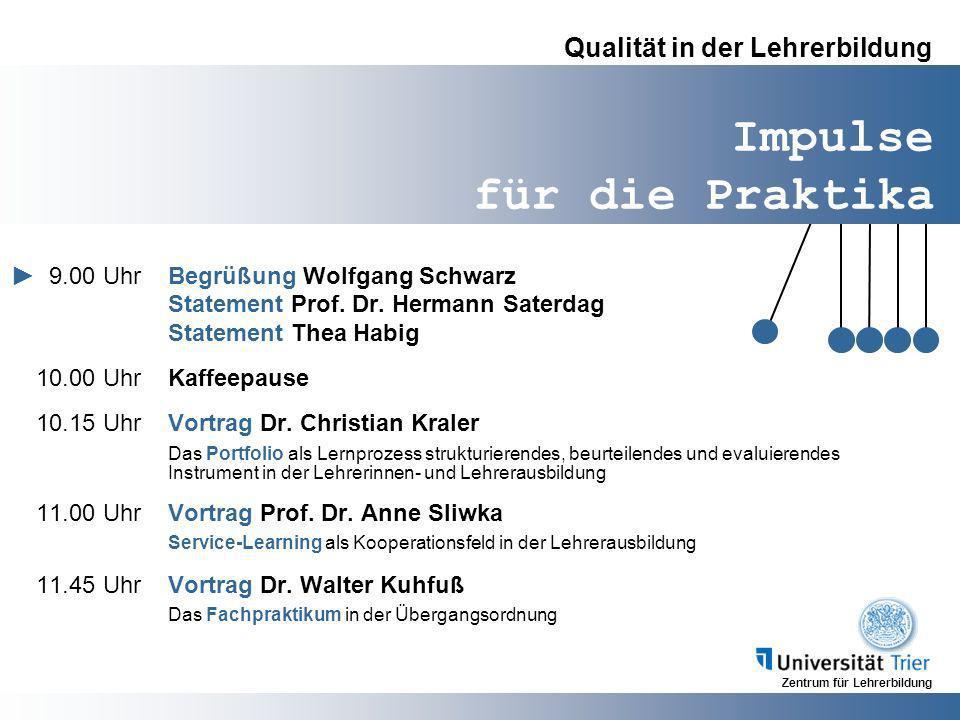 Zentrum für Lehrerbildung Impulse für die Praktika Qualität in der Lehrerbildung