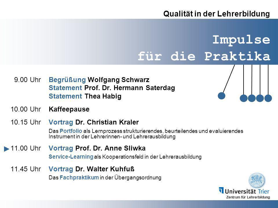 Zentrum für Lehrerbildung Impulse für die Praktika Qualität in der Lehrerbildung 9.00 UhrBegrüßung Wolfgang Schwarz Statement Prof. Dr. Hermann Saterd