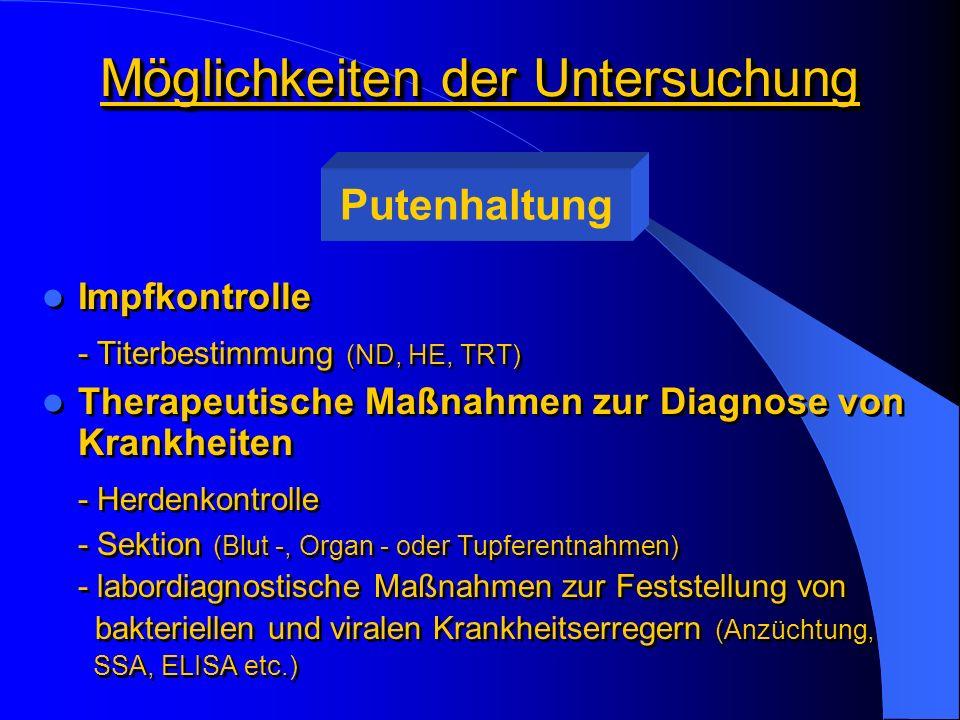 Möglichkeiten der Untersuchung Impfkontrolle - Titerbestimmung (ND, HE, TRT) Therapeutische Maßnahmen zur Diagnose von Krankheiten - Herdenkontrolle -