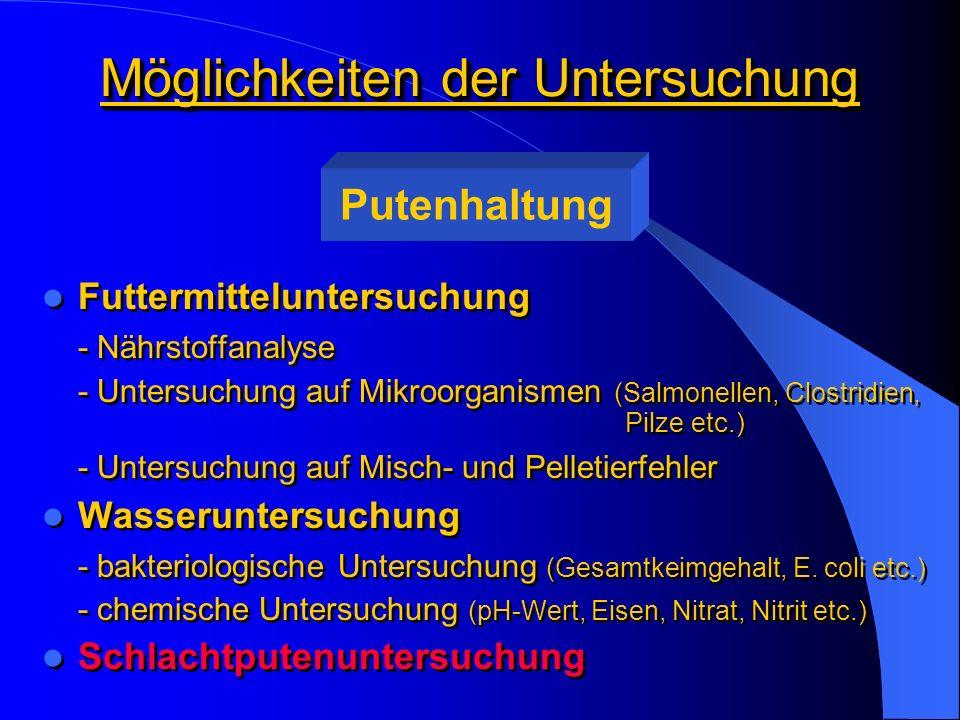 Möglichkeiten der Untersuchung Futtermitteluntersuchung - Nährstoffanalyse - Untersuchung auf Mikroorganismen (Salmonellen, Clostridien, Pilze etc.) -