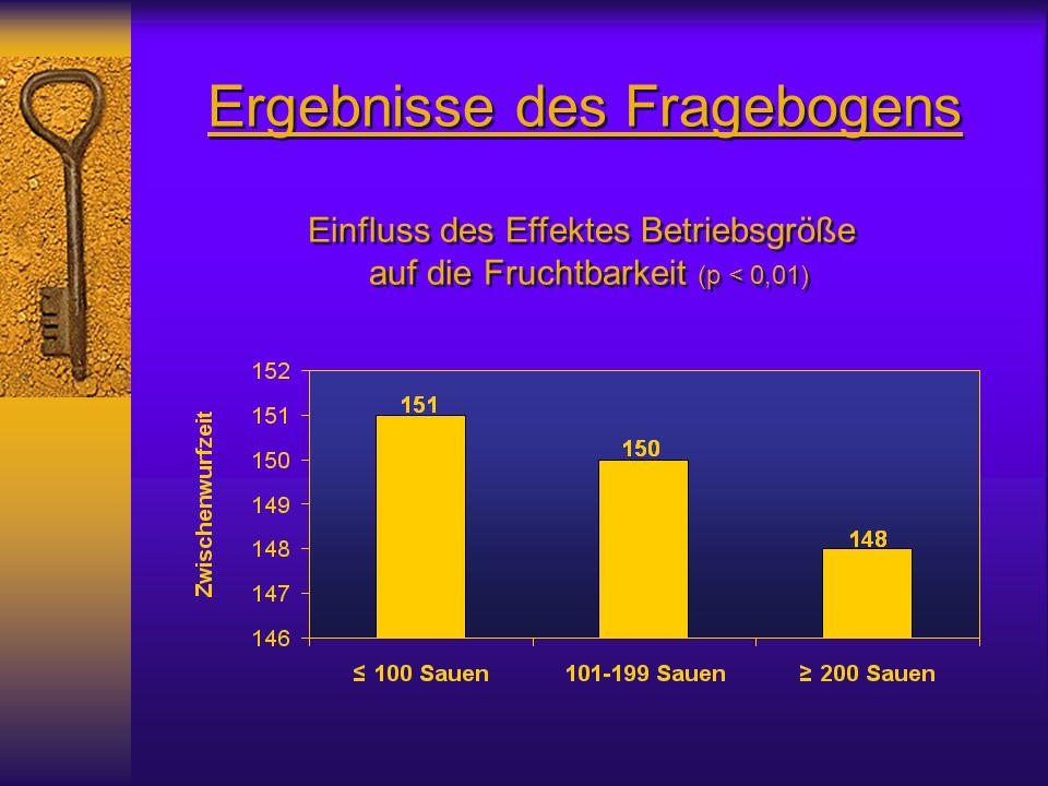 Ergebnisse des Fragebogens Einfluss des Effektes Betriebsgröße auf die Fruchtbarkeit (p < 0,01) Einfluss des Effektes Betriebsgröße auf die Fruchtbarkeit (p < 0,01)