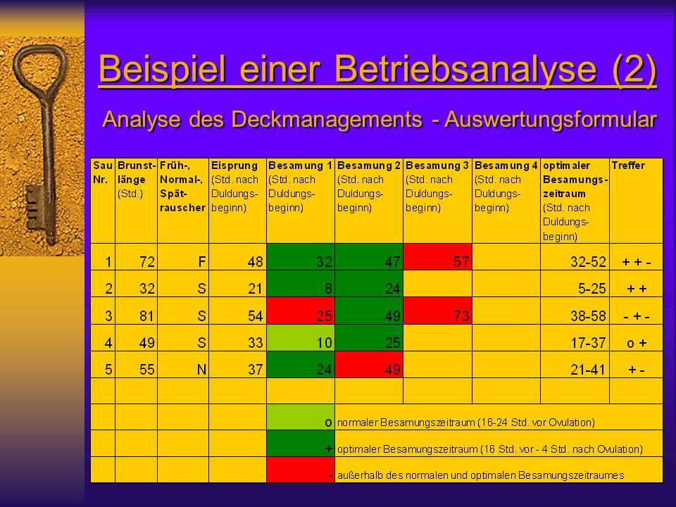 Beispiel einer Betriebsanalyse (2) Analyse des Deckmanagements - Auswertungsformular