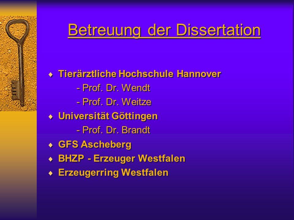 Betreuung der Dissertation Tierärztliche Hochschule Hannover - Prof.