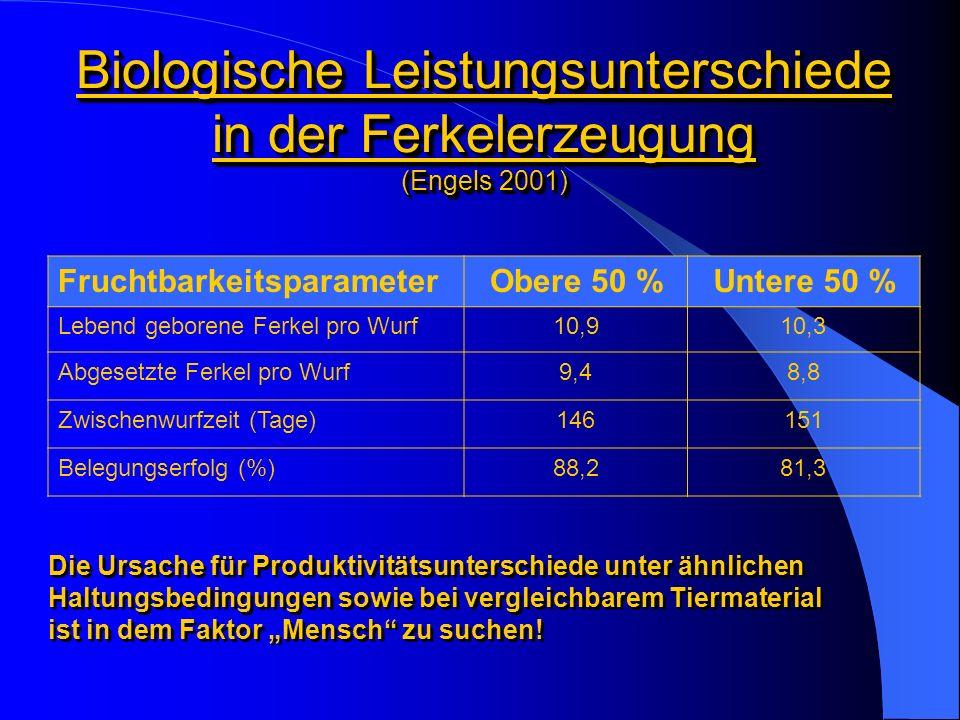Ökonomische Folgen der Leistungsunterschiede (Iben 2001) EinflussfaktorenGrenznutzen + 1 aufgezogenes Ferkel+ 75,00 - 80,00 DM pro Sau und Jahr - 1 % Ferkelverluste+ 15,00 - 25,00 DM pro Sau und Jahr - 10 % Umrauscher- 2 Tage Zwischenwurfzeit + 0,03 Würfe pro Sau und Jahr + 20,00 - 24,00 DM pro Sau und Jahr - 1 mal umrauschen+ 90,00 - 100,00 DM pro Sau und Jahr + 10 % Bestandsergänzung (bei gleichzeitiger Selektion unproduktiver Sauen) + 0,10 - 0,14 Würfe pro Sau und Jahr - 0,06 - 0,10 aufgezogene Ferkel pro Wurf + 0,9 - 1,2 aufgezogene Ferkel pro Sau und Jahr + 50,00 - 85,00 DM pro Sau und Jahr - 1 Leertag+ 4,50 - 5,00 DM pro Sau und Jahr