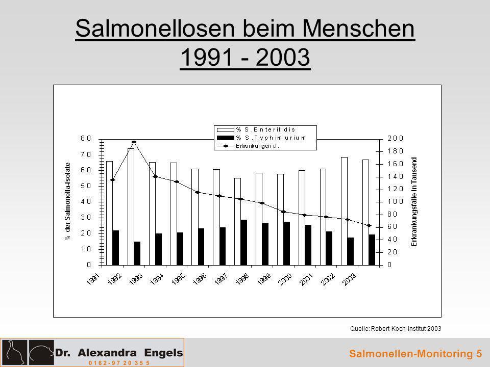 Verteilung der 25 häufigsten Serovare bei Salmonellosen 2003 S.