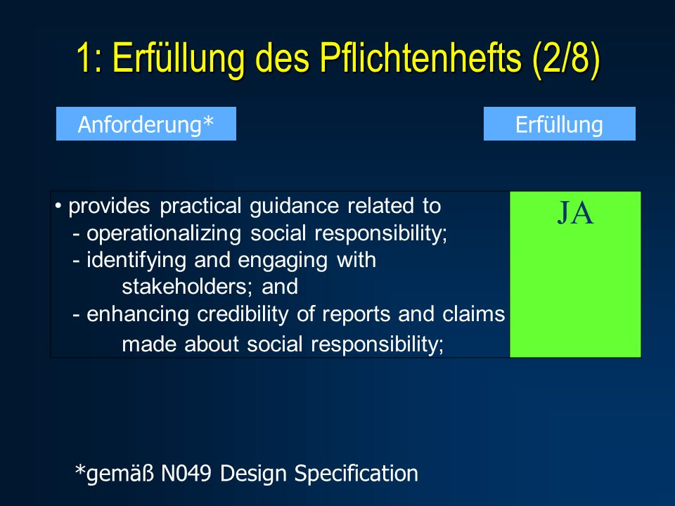 1: Erfüllung des Pflichtenhefts (2/8) provides practical guidance related to - operationalizing social responsibility; - identifying and engaging with stakeholders; and - enhancing credibility of reports and claims made about social responsibility; JA Anforderung*Erfüllung *gemäß N049 Design Specification