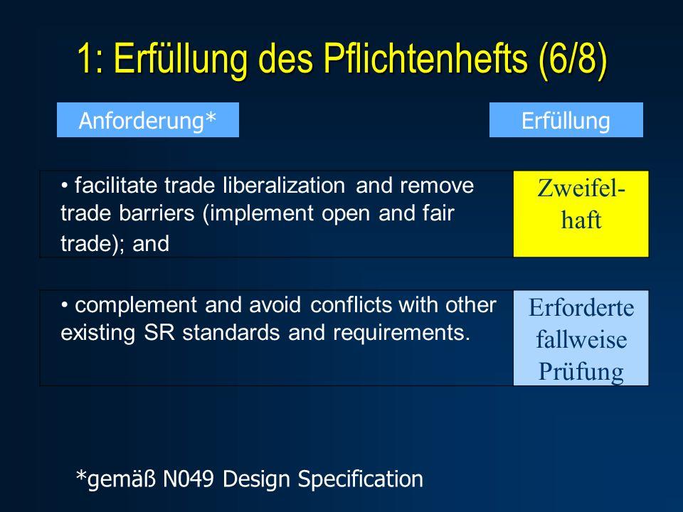 1: Erfüllung des Pflichtenhefts (6/8) facilitate trade liberalization and remove trade barriers (implement open and fair trade); and Zweifel- haft com