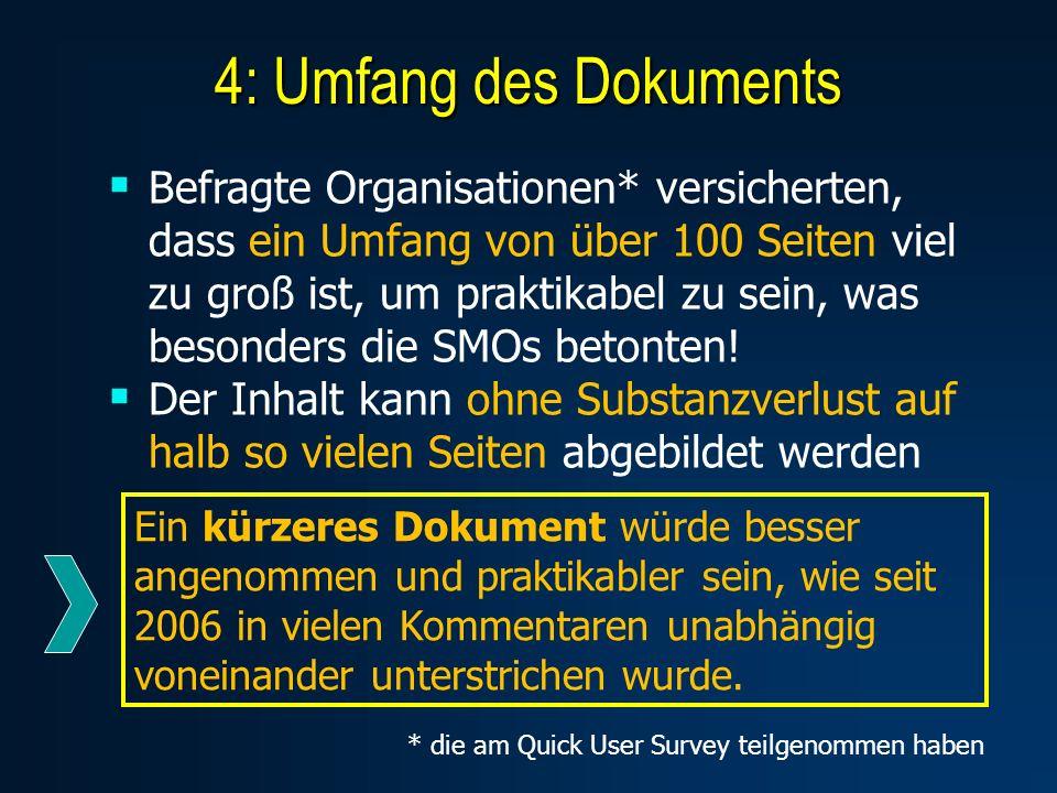 4: Umfang des Dokuments Befragte Organisationen* versicherten, dass ein Umfang von über 100 Seiten viel zu groß ist, um praktikabel zu sein, was besonders die SMOs betonten.