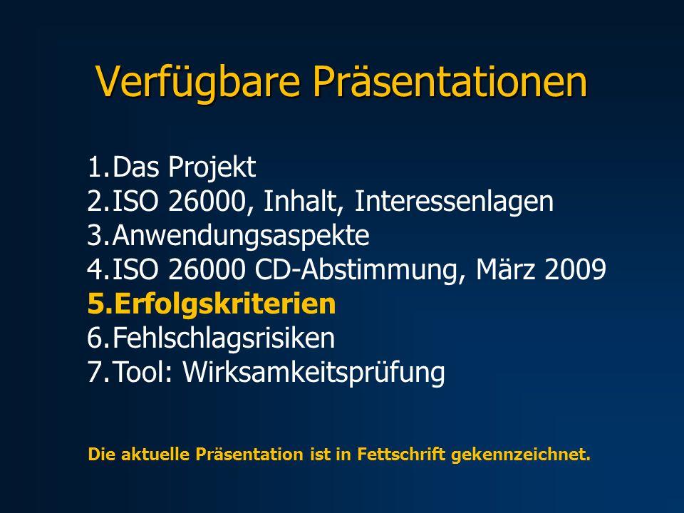Verfügbare Präsentationen 1.Das Projekt 2.ISO 26000, Inhalt, Interessenlagen 3.Anwendungsaspekte 4.ISO 26000 CD-Abstimmung, März 2009 5.Erfolgskriterien 6.Fehlschlagsrisiken 7.Tool: Wirksamkeitsprüfung Die aktuelle Präsentation ist in Fettschrift gekennzeichnet.