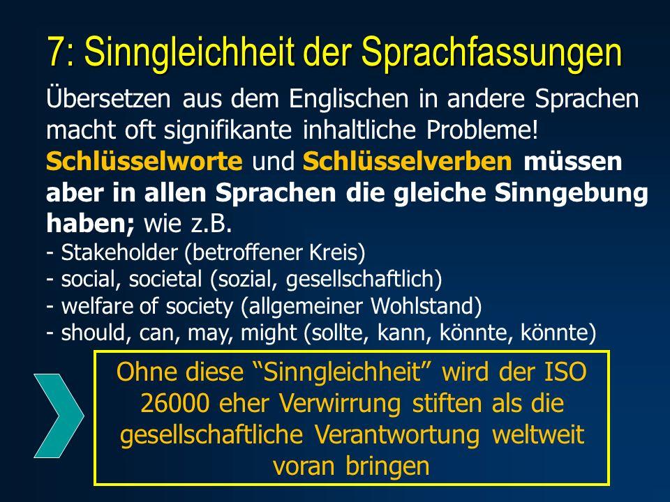 7: Sinngleichheit der Sprachfassungen Übersetzen aus dem Englischen in andere Sprachen macht oft signifikante inhaltliche Probleme.