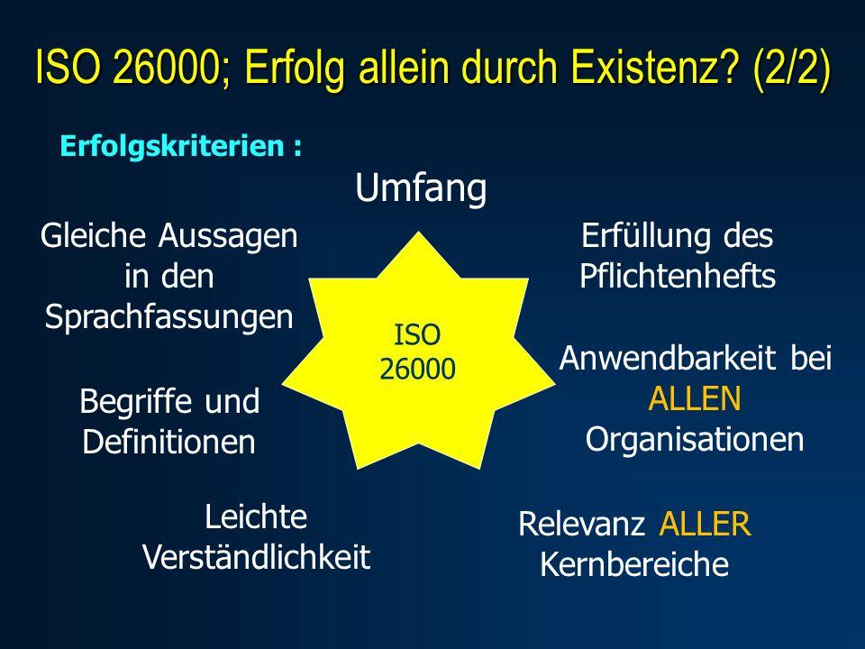 Erfolgskriterien : Umfang Erfüllung des Pflichtenhefts Anwendbarkeit bei ALLEN Organisationen Relevanz ALLER Kernbereiche Gleiche Aussagen in den Sprachfassungen Begriffe und Definitionen Leichte Verständlichkeit ISO 26000 ISO 26000; Erfolg allein durch Existenz.