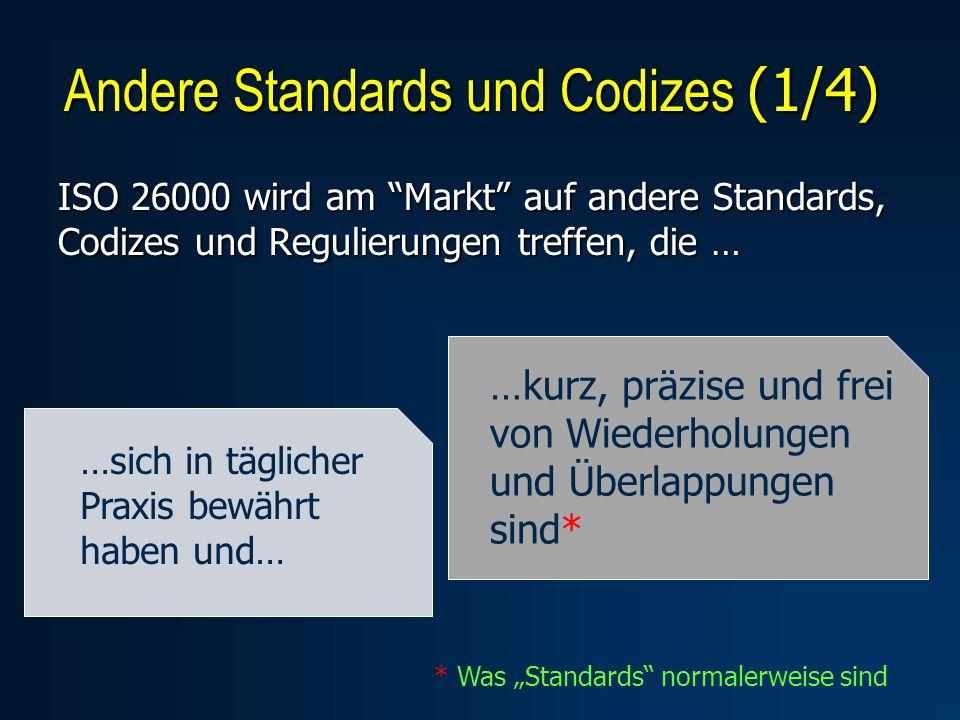 ISO 26000 wird am Markt auf andere Standards, Codizes und Regulierungen treffen, die … Andere Standards und Codizes (1/4) …sich in täglicher Praxis bewährt haben und… …kurz, präzise und frei von Wiederholungen und Überlappungen sind* * Was Standards normalerweise sind