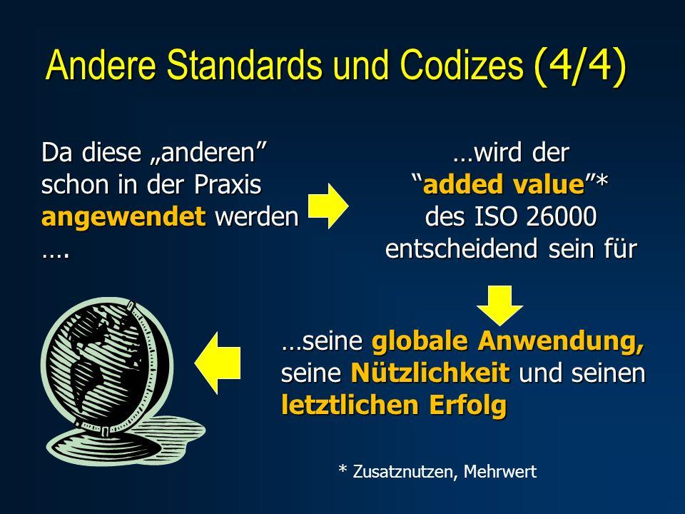 Da diese anderen schon in der Praxis angewendet werden …. …wird deradded value* des ISO 26000 entscheidend sein für …seine globale Anwendung, seine Nü