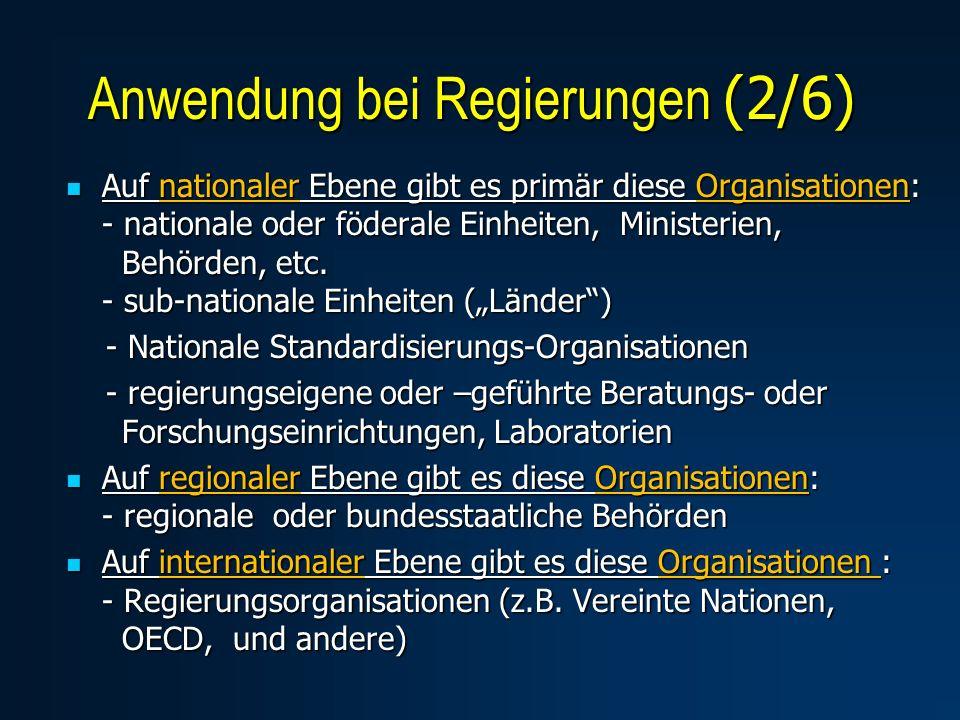 Auf nationaler Ebene gibt es primär diese Organisationen: - nationale oder föderale Einheiten, Ministerien, Behörden, etc. - sub-nationale Einheiten (