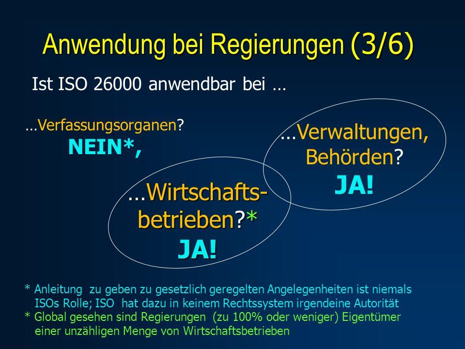 …Wirtschafts- betrieben?* JA! Anwendung bei Regierungen (3/6) Ist ISO 26000 anwendbar bei … …Verfassungsorganen? NEIN*, …Verwaltungen, Behörden? JA! *