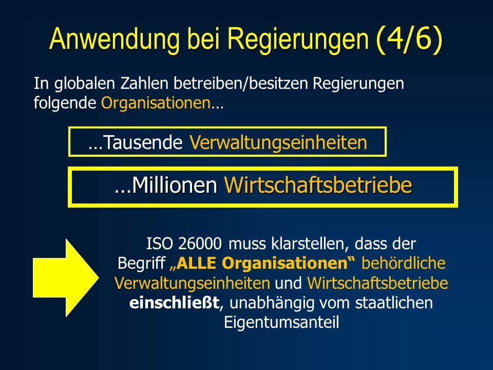 …Millionen Wirtschaftsbetriebe Anwendung bei Regierungen (4/6) In globalen Zahlen betreiben/besitzen Regierungen folgende Organisationen… …Tausende Ve