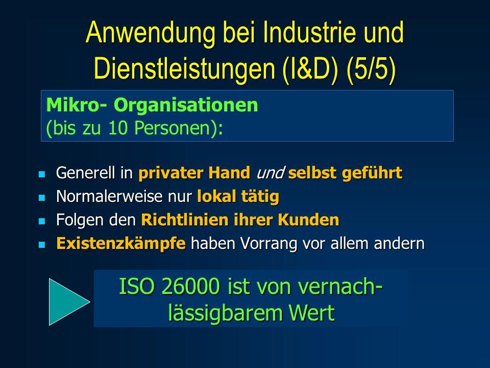 Generell in privater Hand und selbst geführt Generell in privater Hand und selbst geführt Normalerweise nur lokal tätig Normalerweise nur lokal tätig Folgen den Richtlinien ihrer Kunden Folgen den Richtlinien ihrer Kunden Existenzkämpfe haben Vorrang vor allem andern Existenzkämpfe haben Vorrang vor allem andern Mikro- Organisationen (bis zu 10 Personen): ISO 26000 ist von vernach- lässigbarem Wert Anwendung bei Industrie und Dienstleistungen (I&D) (5/5)