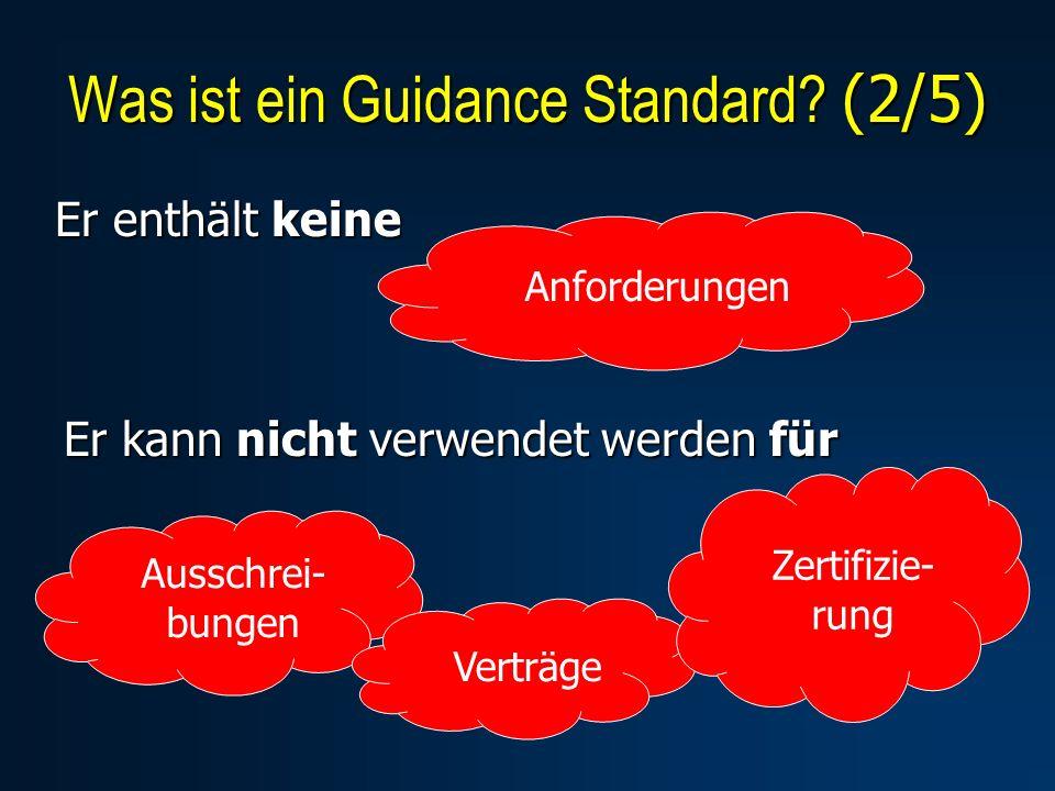 Er enthält keine Was ist ein Guidance Standard? (2/5) Anforderungen Er kann nicht verwendet werden für Ausschrei- bungen Verträge Zertifizie- rung