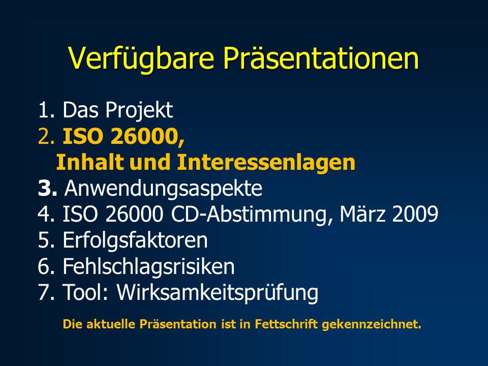 Verfügbare Präsentationen 1. Das Projekt 2. ISO 26000, Inhalt und Interessenlagen 3.