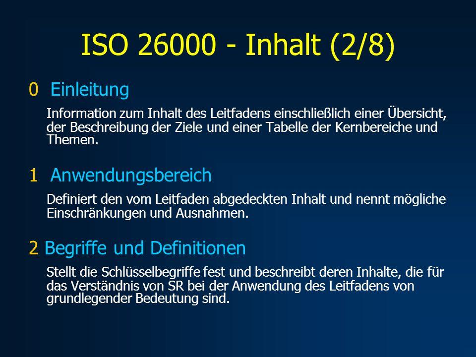 ISO 26000 – Inhalt (3/8) 3 Verständnis von SR Die gesellschaftliche Verantwortung von Organisationen Aktuelle Trends zu SR Charakteristiken von SR Der Staat und gesellschaftliche Verantwortung