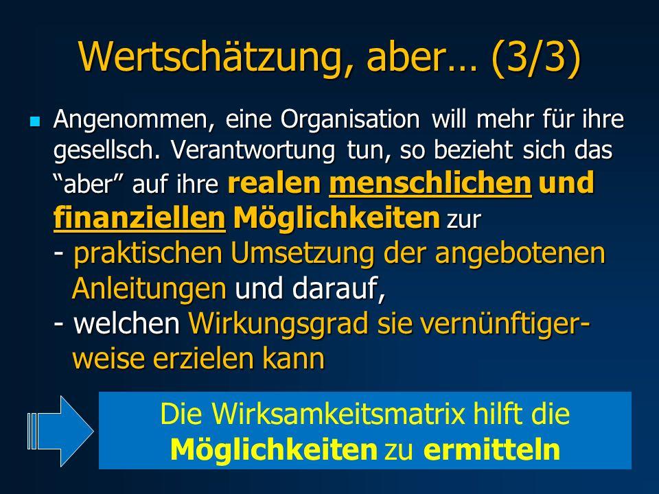 Wertschätzung, aber… (3/3) Angenommen, eine Organisation will mehr für ihre gesellsch. Verantwortung tun, so bezieht sich das aber auf ihre realen men
