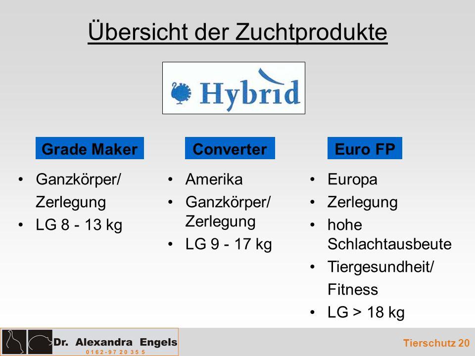 Übersicht der Zuchtprodukte Tierschutz 20 Ganzkörper/ Zerlegung LG 8 - 13 kg Amerika Ganzkörper/ Zerlegung LG 9 - 17 kg Europa Zerlegung hohe Schlacht