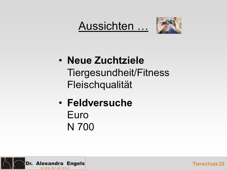 Aussichten … Tierschutz 22 Neue Zuchtziele Tiergesundheit/Fitness Fleischqualität Feldversuche Euro N 700