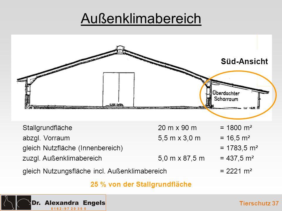 Tierschutz 37 Stallgrundfläche 20 m x 90 m= 1800 m² abzgl. Vorraum 5,5 m x 3,0 m = 16,5 m² gleich Nutzfläche (Innenbereich) = 1783,5 m² zuzgl. Außenkl