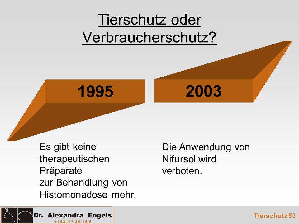 Tierschutz oder Verbraucherschutz? 1995 2003 Die Anwendung von Nifursol wird verboten. Es gibt keine therapeutischen Präparate zur Behandlung von Hist