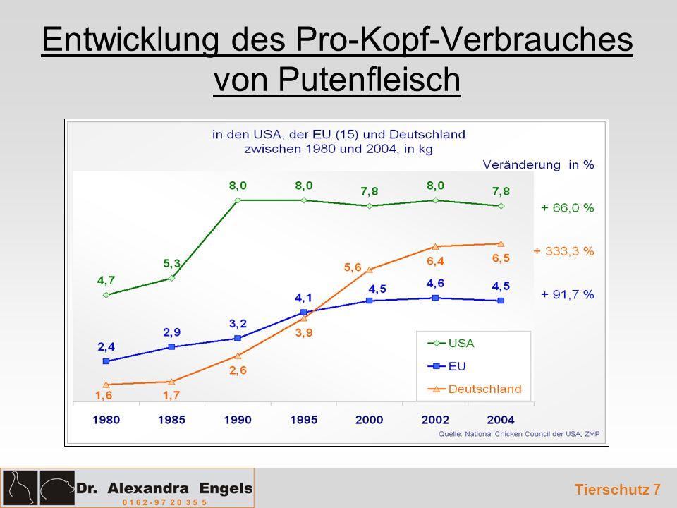 Entwicklung des Pro-Kopf-Verbrauches von Putenfleisch Tierschutz 7