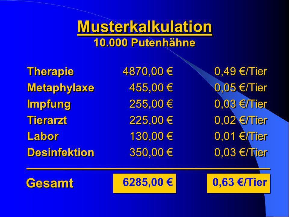 Musterkalkulation 10.000 PutenhähneMusterkalkulation Gesamt 6285,00 0,49 /Tier 0,05 /Tier 0,03 /Tier 0,02 /Tier 0,01 /Tier 0,03 /Tier 0,49 /Tier 0,05