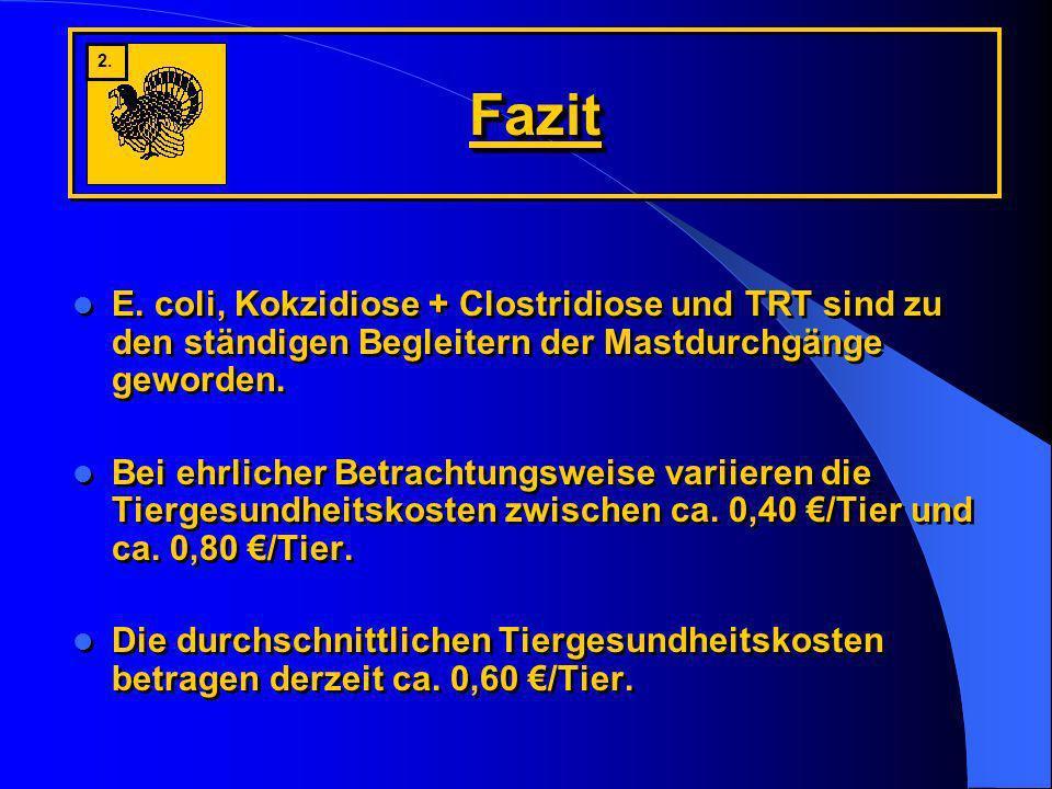 FazitFazit E. coli, Kokzidiose + Clostridiose und TRT sind zu den ständigen Begleitern der Mastdurchgänge geworden. Bei ehrlicher Betrachtungsweise va