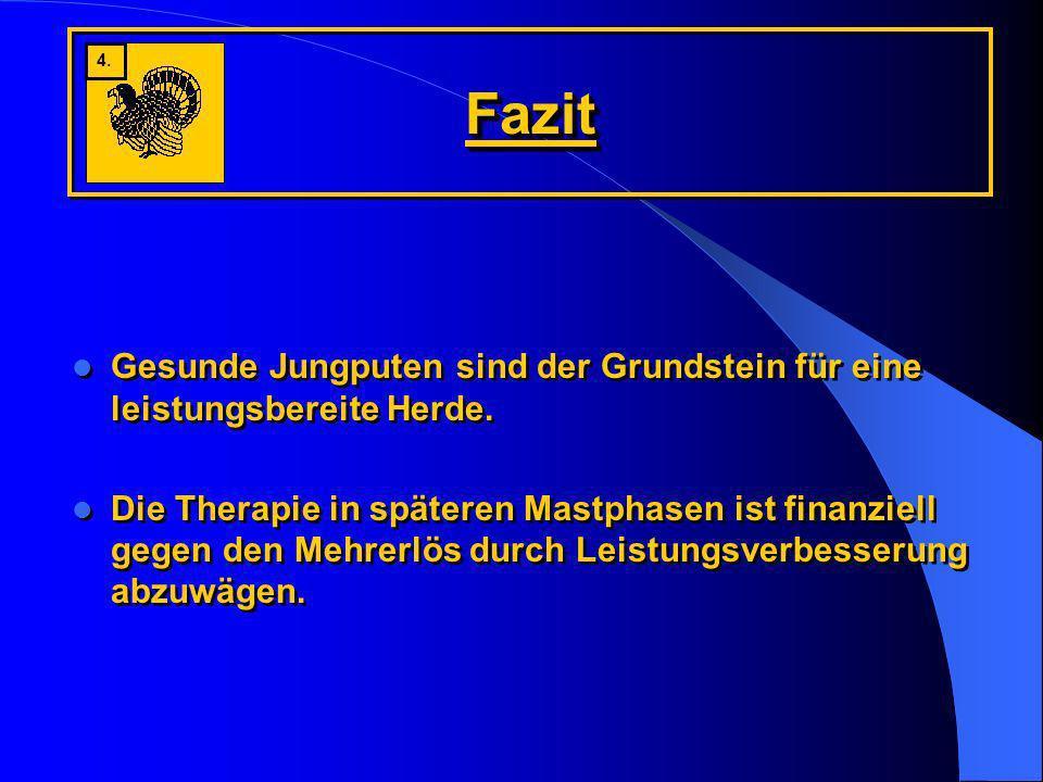 FazitFazit Gesunde Jungputen sind der Grundstein für eine leistungsbereite Herde. Die Therapie in späteren Mastphasen ist finanziell gegen den Mehrerl