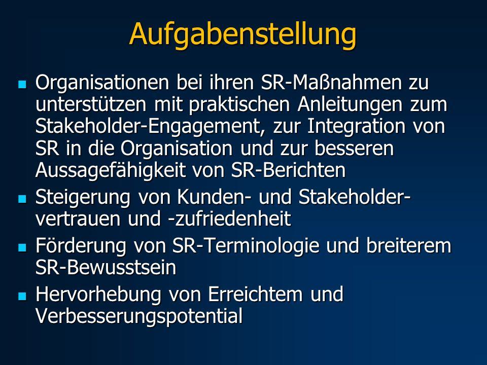 Aufgabenstellung Organisationen bei ihren SR-Maßnahmen zu unterstützen mit praktischen Anleitungen zum Stakeholder-Engagement, zur Integration von SR in die Organisation und zur besseren Aussagefähigkeit von SR-Berichten Organisationen bei ihren SR-Maßnahmen zu unterstützen mit praktischen Anleitungen zum Stakeholder-Engagement, zur Integration von SR in die Organisation und zur besseren Aussagefähigkeit von SR-Berichten Steigerung von Kunden- und Stakeholder- vertrauen und -zufriedenheit Steigerung von Kunden- und Stakeholder- vertrauen und -zufriedenheit Förderung von SR-Terminologie und breiterem SR-Bewusstsein Förderung von SR-Terminologie und breiterem SR-Bewusstsein Hervorhebung von Erreichtem und Verbesserungspotential Hervorhebung von Erreichtem und Verbesserungspotential