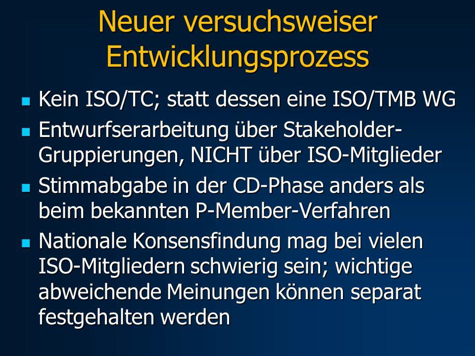 Neuer versuchsweiser Entwicklungsprozess Kein ISO/TC; statt dessen eine ISO/TMB WG Kein ISO/TC; statt dessen eine ISO/TMB WG Entwurfserarbeitung über Stakeholder- Gruppierungen, NICHT über ISO-Mitglieder Entwurfserarbeitung über Stakeholder- Gruppierungen, NICHT über ISO-Mitglieder Stimmabgabe in der CD-Phase anders als beim bekannten P-Member-Verfahren Stimmabgabe in der CD-Phase anders als beim bekannten P-Member-Verfahren Nationale Konsensfindung mag bei vielen ISO-Mitgliedern schwierig sein; wichtige abweichende Meinungen können separat festgehalten werden Nationale Konsensfindung mag bei vielen ISO-Mitgliedern schwierig sein; wichtige abweichende Meinungen können separat festgehalten werden