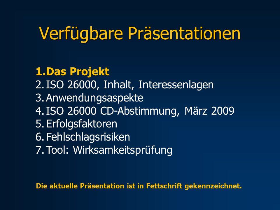 Verfügbare Präsentationen 1.Das Projekt 2.ISO 26000, Inhalt, Interessenlagen 3.Anwendungsaspekte 4.ISO 26000 CD-Abstimmung, März 2009 5.Erfolgsfaktoren 6.Fehlschlagsrisiken 7.Tool: Wirksamkeitsprüfung Die aktuelle Präsentation ist in Fettschrift gekennzeichnet.