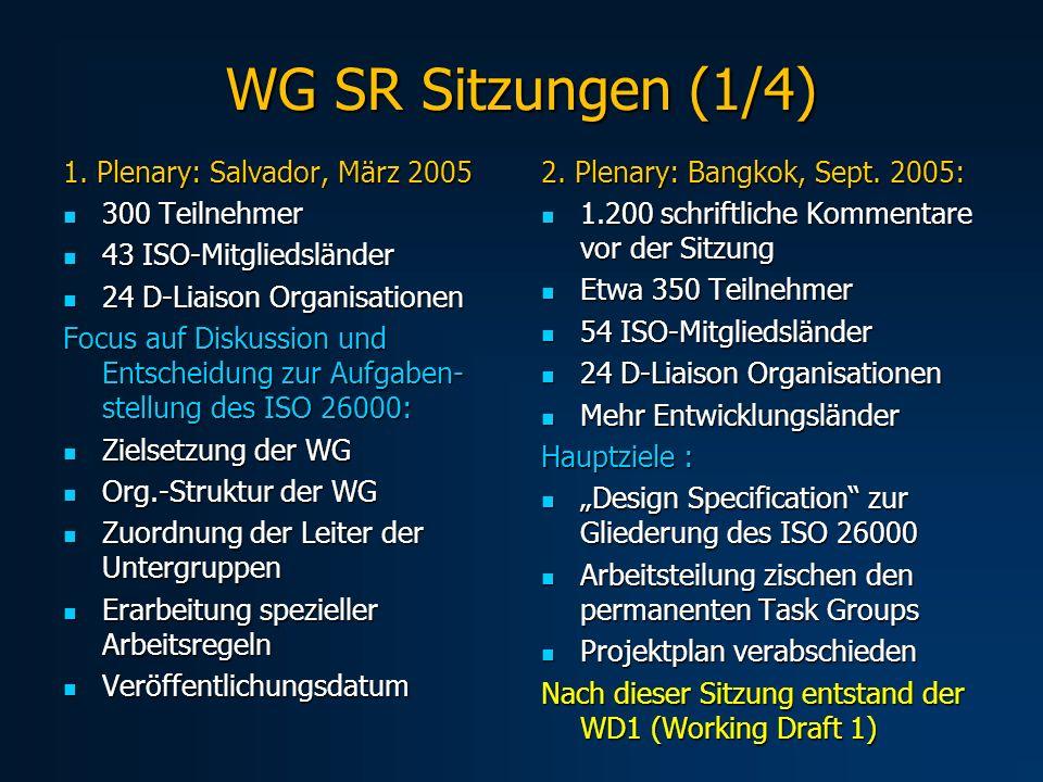 WG SR Sitzungen (1/4) 1. Plenary: Salvador, März 2005 300 Teilnehmer 300 Teilnehmer 43 ISO-Mitgliedsländer 43 ISO-Mitgliedsländer 24 D-Liaison Organis