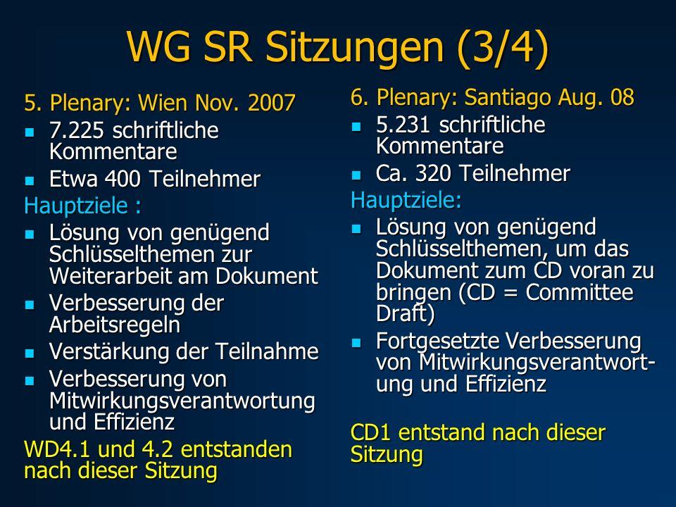 WG SR Sitzungen (3/4) 5. Plenary: Wien Nov.