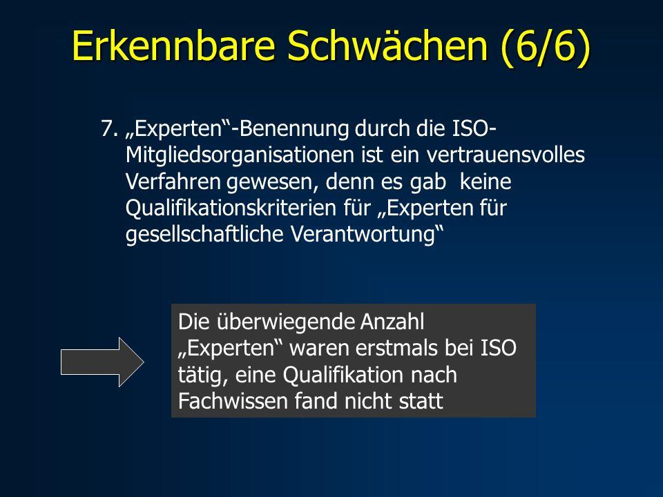 Erkennbare Schwächen (6/6) 7.Experten-Benennung durch die ISO- Mitgliedsorganisationen ist ein vertrauensvolles Verfahren gewesen, denn es gab keine Qualifikationskriterien für Experten für gesellschaftliche Verantwortung Die überwiegende Anzahl Experten waren erstmals bei ISO tätig, eine Qualifikation nach Fachwissen fand nicht statt