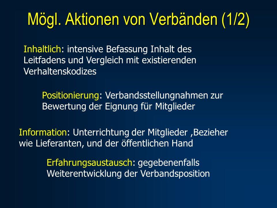Mögl. Aktionen von Verbänden (1/2) Inhaltlich: intensive Befassung Inhalt des Leitfadens und Vergleich mit existierenden Verhaltenskodizes Information