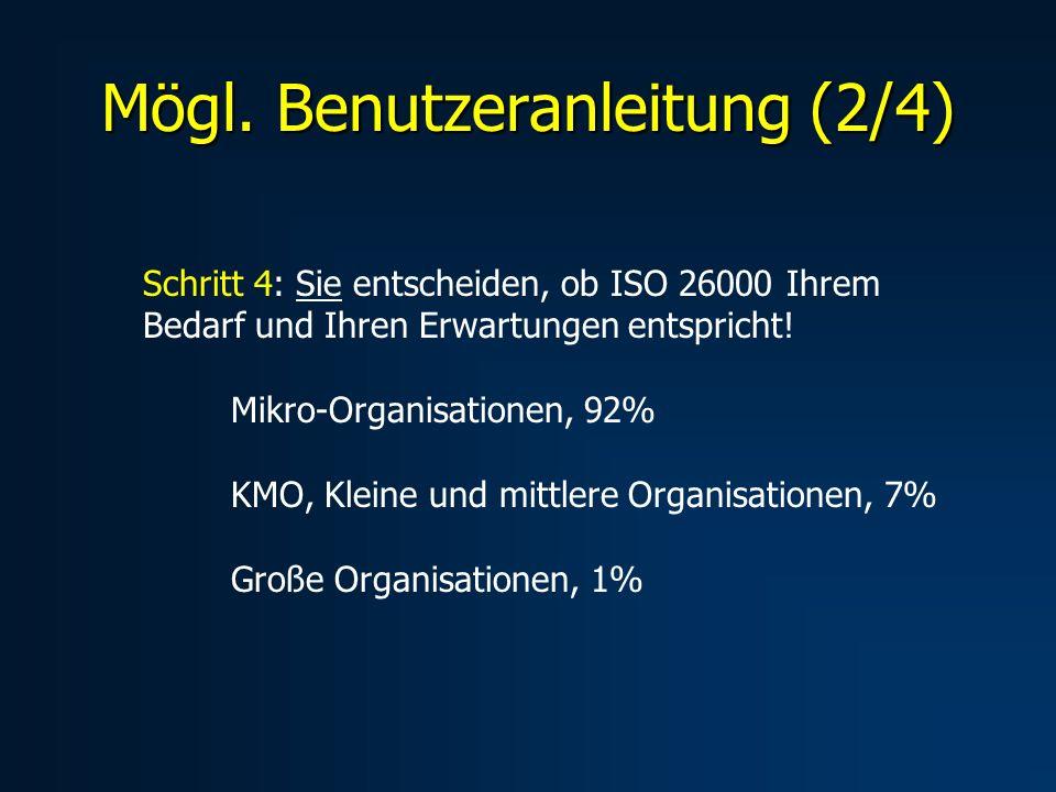 Mögl. Benutzeranleitung (2/4) Schritt 4: Sie entscheiden, ob ISO 26000 Ihrem Bedarf und Ihren Erwartungen entspricht! Mikro-Organisationen, 92% KMO, K