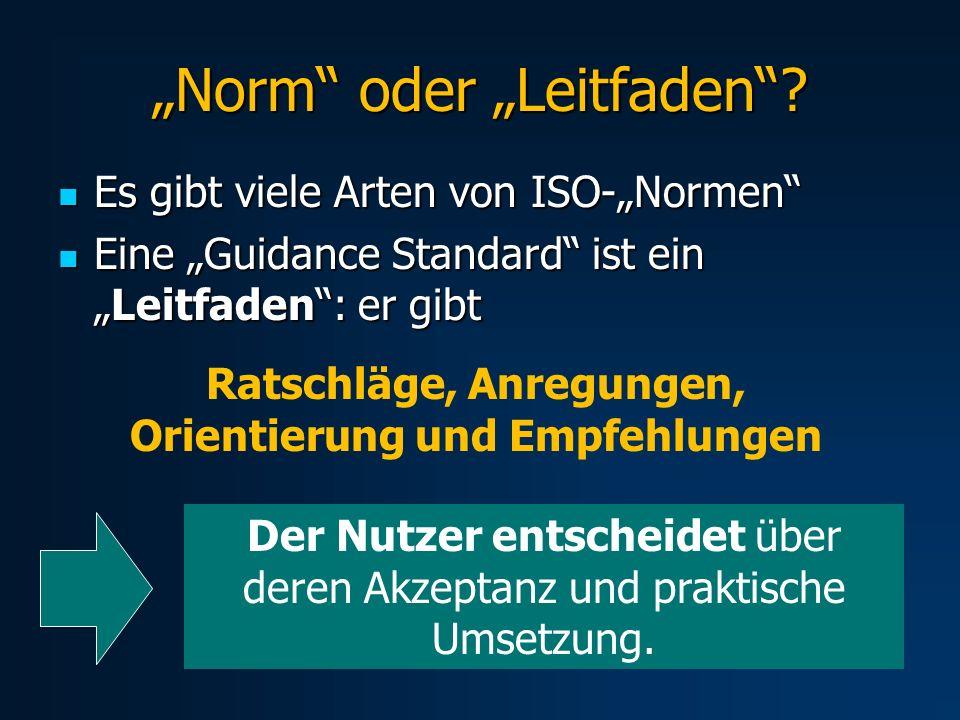 Norm oder Leitfaden? Es gibt viele Arten von ISO-Normen Es gibt viele Arten von ISO-Normen Eine Guidance Standard ist einLeitfaden: er gibt Eine Guida