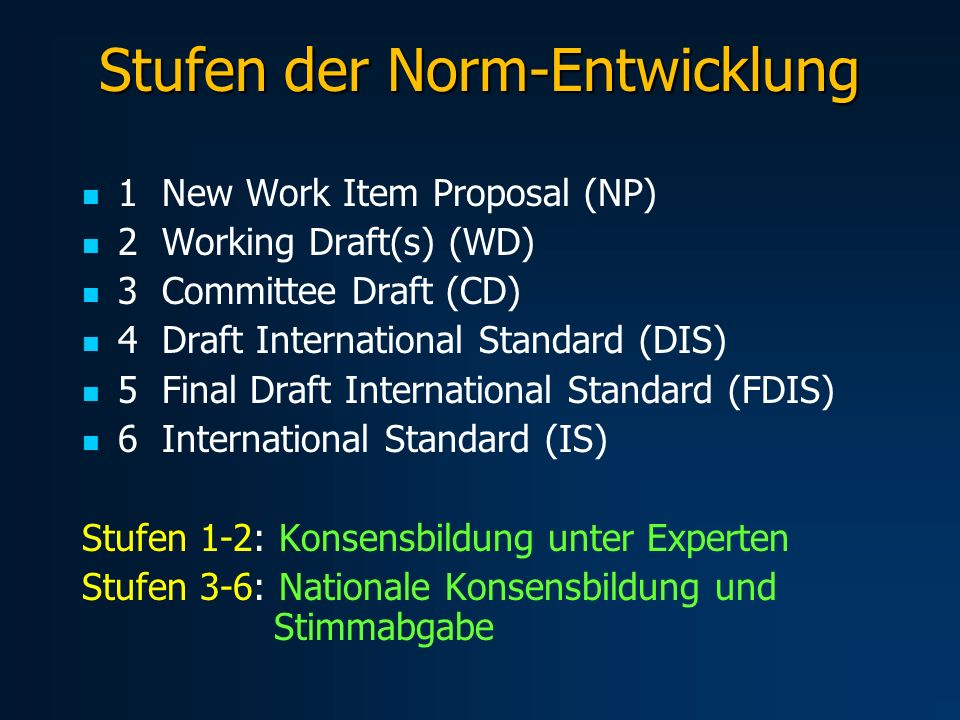 Stufen der Norm-Entwicklung 1 New Work Item Proposal (NP) 2 Working Draft(s) (WD) 3 Committee Draft (CD) 4 Draft International Standard (DIS) 5 Final Draft International Standard (FDIS) 6 International Standard (IS) Stufen 1-2: Konsensbildung unter Experten Stufen 3-6: Nationale Konsensbildung und Stimmabgabe