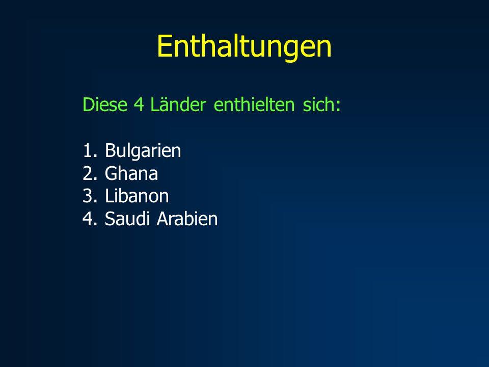 Enthaltungen Diese 4 Länder enthielten sich: 1. Bulgarien 2. Ghana 3. Libanon 4. Saudi Arabien