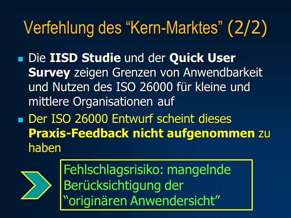 Die IISD Studie und der Quick User Survey zeigen Grenzen von Anwendbarkeit und Nutzen des ISO 26000 für kleine und mittlere Organisationen auf Die IIS